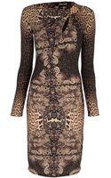 Roberto Cavalli Leopard Print Fitted Dress - Lyst