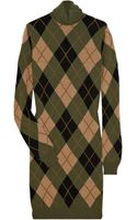 Alexander McQueen Argyle Wool and Silk-blend Turtleneck Dress - Lyst