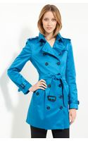 Burberry Double Breasted Belted Satin Trench - Lyst