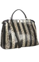 Fendi Black and Beige Striped Snakeskin Peekaboo Satchel - Lyst