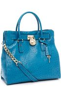 Michael Kors Large Hamilton Ostrich-embossed Tote, Turquoise - Lyst