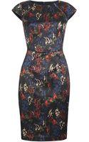 Paul Smith Black Label Navy Floral Print Pencil Dress - Lyst