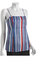Marc By Marc Jacobs Blue Striped Cotton Spaghetti Strap Top - Lyst