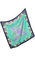 Versace Navy Ornamental Silk Square Scarf - Lyst