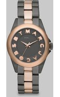 Marc By Marc Jacobs Logo Embellished Stainless Steel Watch/two-tone Ip - Lyst
