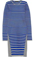 Alexander Wang Striped Stretch-fleece and Satin-twill Dress - Lyst