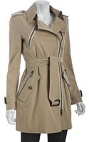 Burberry Honey Twill Zipper Trench Coat - Lyst