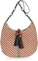 Jimmy Choo Lara Elaphe-trimmed Woven Cord Shoulder Bag - Lyst