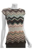 M Missoni Green Wave Stripe Wool Blend Cap Sleeve Top - Lyst