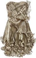 Marchesa Embellished Pleated Silk-organza Dress - Lyst