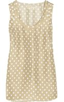 Michael by Michael Kors Polka-dot Washed-silk Tank - Lyst