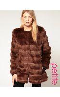 ASOS Collection Asos Petite Stripe Faux Fur Coat - Lyst
