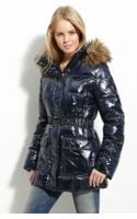 Calvin Klein Quilted Down Jacket with Faux Fur Trim - Lyst