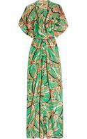 Issa Printed Silk-satin Kimono Maxi Dress - Lyst