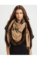 Burberry Fur-trimmed Check Scarf - Lyst