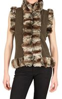 Vicedomini Rabbitfur Trim On Cashmere Knit Fur Coat - Lyst