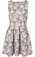 Topshop Texture Flower Skater Dress - Lyst
