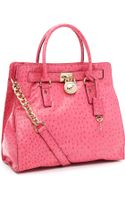 MICHAEL Michael Kors Large Hamilton Ostrich-embossed Tote - Lyst