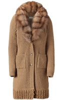 Ermanno Scervino Camel Knitted Coat with Fur Collar - Lyst