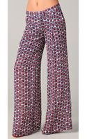 Elizabeth And James Evelyn Wide-Leg Printed Silk-Crepe Pants - Lyst