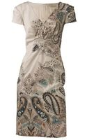 Etro Short sleeve Pintuck V-neck Dress - Lyst