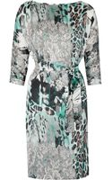 Helene Berman Printed Satin Dress - Lyst