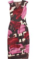 Lela Rose Wool-blend Brushstroke-print Dress - Lyst