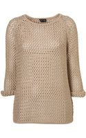Topshop Knitted Wetlook Stitch Jumper - Lyst