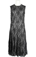 Comme Des Garçons Black Sleeveless Dress in A Lace Blend Of Nylon and Rayon with A Black and White Checked Polyester Lining - Lyst