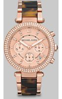 Michael Kors Crystal Embellished Rose Goldtone Chronograph Watch - Lyst