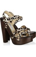 Jimmy Choo Corliss Calf Hair and Leather Sandals - Lyst