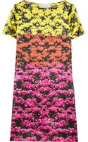 Mary Katrantzou Color-block Floral-print Silk-satin Dress - Lyst