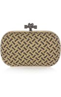Bottega Veneta Snakeskin-trimmed Beaded Intrecciato Leather Knot Clutch - Lyst