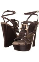 Burberry Check Canvas Jacquard Wedge Sandal - Lyst