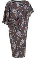 Suno Asymmetric Floral Drape Dress - Lyst