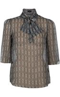 Suno Ascot Striped Sheer Blouse - Lyst