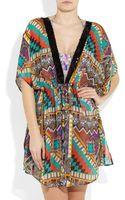 Etro Sequined Printed Silk-chiffon Kaftan - Lyst