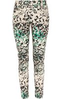 DKNY Printed Stretch-cotton Skinny Pants - Lyst