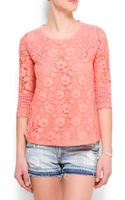 Mango Laced Blouse - Lyst