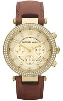 Michael Kors Mid-size Parker Chronograph Glitz Watch, Golden - Lyst