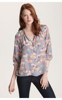 Tucker Smock Neck Print Silk Blouse - Lyst