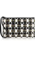 Marni Embellished Woven Canvas Clutch - Lyst