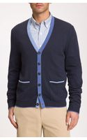 Brooks Brothers Contrast Trim Cardigan - Lyst