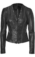 Donna Karan New York Black Hand Stitched Leather Jacket - Lyst