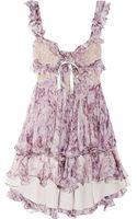 Alexander McQueen Ruffled Printed Silkchiffon Mini Dress - Lyst