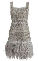 Oscar de la Renta Sleeveless Lame Dress with Feather Hem - Lyst