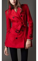 Burberry Short Cotton Blend Heritage Trench Coat - Lyst