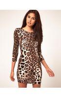 John Zack John Zack Leopard Print Dress with 34 Sleeves - Lyst
