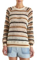 Etoile Isabel Marant Striped Crochet Long Sleeve Sweater - Lyst