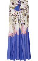 Vera Wang Printed Stretchcotton and Silkblend Chiffon Mini Skirt - Lyst